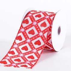 Specialty Ribbon - Red Sweet Heart with Checked - Valentine Ribbon