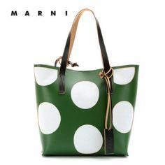 Marni Edition - Leather shopper Jade+Soft Beige