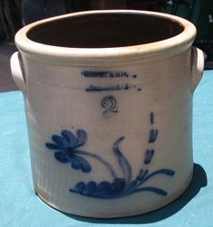 Old Blue Letters C.HART & SON 2 # Stoneware Pottery Crock.