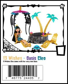 "Cleo deNile with 13 Wishes ""Desert Oasis"" play set. It comes with a canopy, 2 chairs, a fire pit & oasis with 2 palm trees."