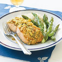 Potato Chip Crusted Salmon with fresh Dill, Olive oil, and Dijon Mustard. So good! (make it gluten-free with homemade gluten-free bread crumbs)