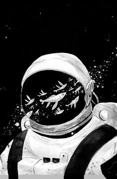 Pin de alaa yossry em anime art, space illustration e art drawings. Art And Illustration, Astronaut Illustration, Landscape Illustration, Wallpaper 4k Iphone, Wallpaper Space, White Wallpaper, Hipster Wallpaper, Phone Wallpapers, Games Tattoo