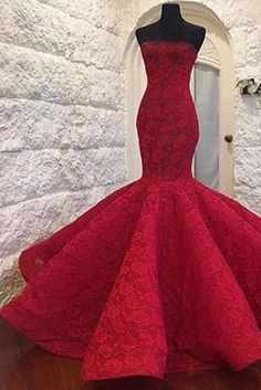 Lace prom dress, ball gown, gorgeous red lace long evening dress for prom 2017