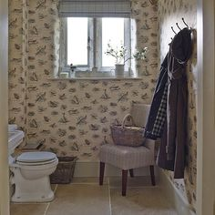 After downstairs toilet ideas and cloakroom ideas? Find your ideal style small cloakroom with these beautiful small cloakroom ideas. Faux Brick Wallpaper, Bird Wallpaper, Cloakroom Toilet Downstairs Loo, Bathroom Trends, Bathroom Ideas, Cloakroom Ideas, Family Bathroom, Country Style Bathrooms, Small Toilet Room