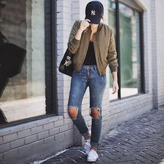 Hat, bomber jacket, and destroyed denim. We think we found our favorite new weekend look! @stephsterjovski