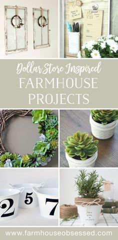 Cheap and easy Dollar Store inspired farmhouse home decor projects and crafts that look amazing. Creative farmhouse and rustic DIY's that are affordable. FarmhouseInspired.com #farmhouse #rustic #craft #diy #project #homedecor #affordablehomedecor #cheaphomedecor