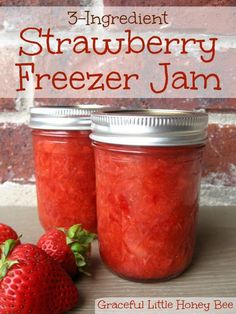 This easy no-cook strawberry freezer jam uses only three ingredients and tastes like heaven in a jar!