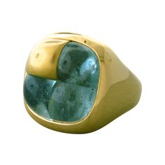 Pomellato Aquamarine Cabochon Gold Ring | From a unique collection of vintage more rings at http://www.1stdibs.com/jewelry/rings/more-rings/