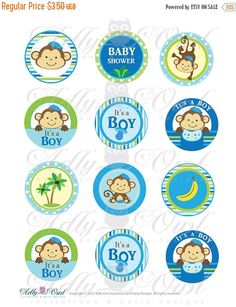 ➤ 15 % OFF - Slow E-mail Response Sale! ☛ Turnaround for invitations regular timing + 5 business days.❢ 24 HOURS files are NO EXCEPTIONS (+ 5 business days). ✖ Custom orders are not accepted. Instant Download! Its a Boy Monkeys Cupcake Toppers or Favor Tags- 2 (5 cm) Cupcake toppers Make a good start for your Little Monkey Party :) print this colorful invitation at home on your inkjet or laser printer or e-mail it to your friends. ♥ WHAT YOU GET? 12 Cupcake Toppers each 2 (5cm) ...