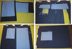 Conjunto de casinha na sarja azul marinho com persiana no tricoline azul claro (1 janela e 1 porta com janela), com altura de 125cm. Decorative fabric house (1 window and 1 door with window).