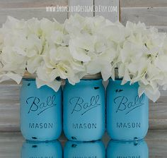 Hey, I found this really awesome Etsy listing at http://www.etsy.com/listing/175216746/turquoise-painted-distressed-mason-jars