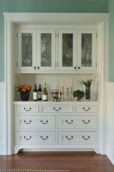 Fantastic use of an old closet space as a Wet Bar or China Cabinet
