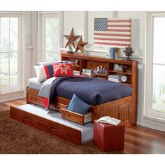Add storage and style to your child's bedroom with this twin size bookcase headboard daybed. In a rich merlot finish, this ready-to-assemble unit offers 3 drawers of storage and a twin-size trundle bed.
