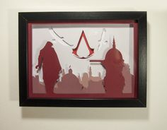 Assassin creed framed hand paper cut special wall decor wall