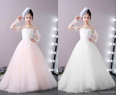 Vintage Blush And White Lace Flower Girls Dresses For Wedding 2020 Long Illusion Sleeves Princess Tulle Ruched Cheap First Communion Dress 2020 Vintage Luxury Princess Girl Dress Girls Pageant Dresses Toddler Infant Girls Kids Formal Prom Evening Dresses Online with $91.02/Piece on Stunningdress88's Store | DHgate.com Lace Flower Girls, Flower Girl Dresses, Evening Dresses Online, Girls Pageant Dresses, Princess Girl, Infant Girls, Communion Dresses, Formal Prom, Toddler Dress