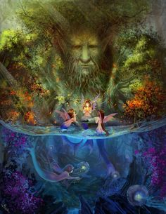 Mermaids, tree of life, fairies, and fauns