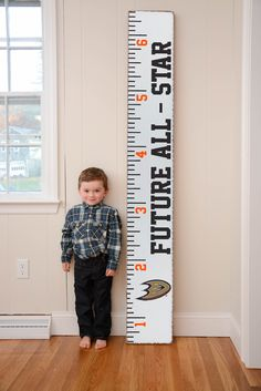 Decorate a kid's bedroom with Rustic Marlin's Growth Chart for the little Anaheim Ducks fan in your life.