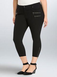 Cropped Skinny Zip Pants, BLACK