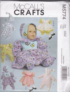McCall's Patterns M5774 Baby Doll Clothes For Dolls, 11-Inch - 13-Inch and 14-Inch - 16-Inch, All Sizes McCall's Patterns http://www.amazon.com/dp/B002WI0EX6/ref=cm_sw_r_pi_dp_WbFdvb07X7ZHJ