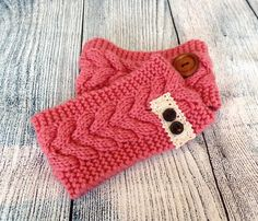 Womens ROSE Cable Knit Headband Girls knitted by uptowngirlco