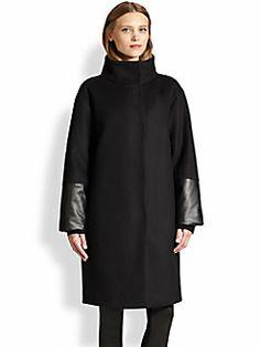 Akris Punto - Oversized Wool & Faux Leather Coat