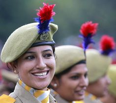 The women's police contingent at the Independence Day parade in Srinagar, August 2012.