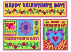 "Mini Valentine's Day Murals. Make as many as you want with the $5 PDF template. 20"" to 40"" wide when complete.  #valentine #mural #artprojectsforkids"