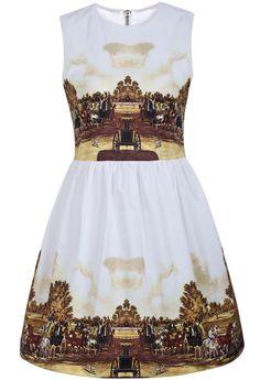 White Sleeveless Carriage Print Classic Dress