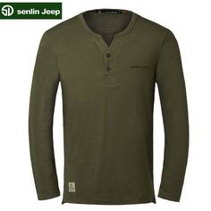 Senlin Jeep Men's Spring Solid Color V-Neck Long-sleeved Causal Cotton T-Shirts Lined Flannel Shirt, T Shirt Vest, Shirt Men, Flannel Shirts, Hipster Outfits Men, Formal Men Outfit, Mens Winter Coat, Latest Mens Fashion, Men's Fashion