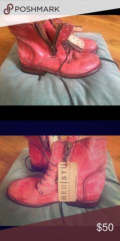 BedStu cobbler series size 8 combat boots Zip up lace up red leather combat boots Bed Stu Shoes Combat & Moto Boots