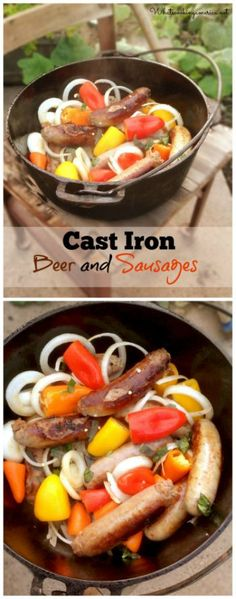 Dutch Oven Beer and Sausages Recipe  |  whatscookingamerica.net  | #dutchoven #castiron #beer #sausages #camp
