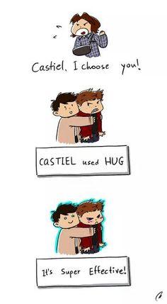 Castiel used hug