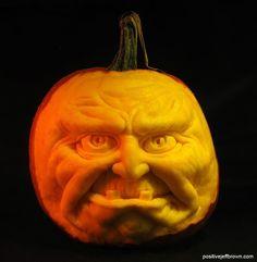 Underbite Pumpkin Sculpture / Carving by Jeff Brown #pumpkinsculpture #pumpkinsculpt #pumpkincarving #pumpkincarve