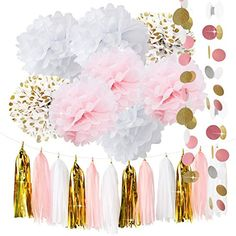 Pink Party Kit Baby Girl Shower Package List: 6 pcs tissue paper flowers 4 pcs baby pink(2*12inch+2*10inch)+4 pcs white(2*12inch+2*10inch)+4 pcsGold Tissue Paper Pom Poms(2*12inch+2*10inchh);  1 pack of baby pink white gold mixed color tissue paper tassel garland with one white ribbon and using instruction,totally 12 sheets,each color comes with 4 pcs...