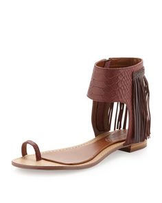 Baste Fringe Ankle Flat Sandal, Deep Purple/Heather by Boutique 9 at Last Call by Neiman Marcus.