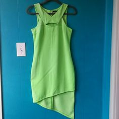"""Do&Be Neon Green Uneven Hem Sheath Dress I love this unique style. Waited too long to wear it, now it doesn't fit :(  Measurements: pit to pit 16.5""""; length (shortest) 32"""", (longest) 44"""" measured from highest point of shoulder to hem. Hidden zipper in back. Material is 100% polyester. Do & Be Dresses Asymmetrical"""