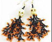 Halloween Skulls Beadwork Seed Bead Earrings with Coral Dangles in Orange