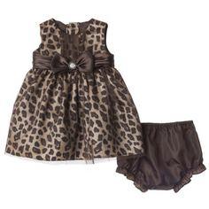 Rosenau™ Newborn Girls' Leopard Print Dress and Panty - Brown