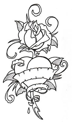tattoo outline drawings | RoseHeart Outline by vikingtattoo