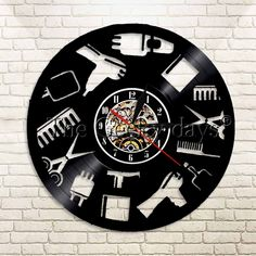 e38a397c64b 1Piece Beauty Salon Tools Equipment Vinyl Record Wall Clock Gift Idea For  Hairdressers Barbers Shops Decor
