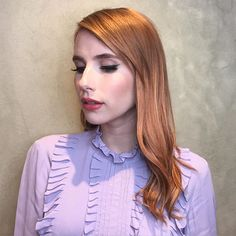 Still can't get over this #DesertRose @emmaroberts by @nikkilee901!  #901formula: Loreal Inoa 7.34 + 7n with 20 volume for her base (processed for 30mins.) Her gloss is Shades EQ 8g+8c+9aa+clear+Olaplex (processed for 20mins on cleaned towel dried hair.) #formulafridays #emmaroberts