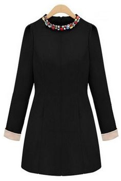 stay warm + stay pretty // bejeweled neckline long-sleeved shift dress