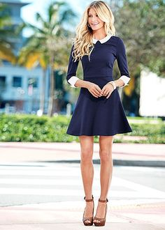 Make your closet happy with a simple go-to silhouette. Venus collar detail dress.