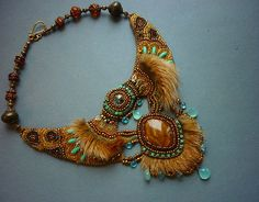 """Necklace """"Sophie"""" - Necklace Bead Embroidery Art with fox fur,. $288.00, via Etsy."""