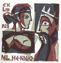 Bookplate ML Hennig Artist: Hanns Studer, Basel CH (1920)