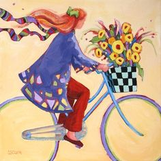 Breezy Biking, contemporary figure painting of woman on bicycle, painting by artist Carolee Clark Bicycle Painting, Bicycle Art, Art Fantaisiste, Clark Art, Daily Painters, Arte Pop, Naive Art, Illustrations, Whimsical Art