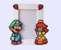 Luigi & Daisy Paper Mario Picture Frame White Frame by BeadxBead, �squo;�17.00