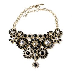 Gold-tone brass bib necklace with Resin stones and Austrian crystals.