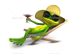 Buy Frog in a Hat on a Deck Chair with a Glass by brux on GraphicRiver. Frog in a hat on a deck chair with a glass Illustration Frog in a Hat on a Deck Chair with a Sunglasses JPEG Funny Frogs, Cute Frogs, 3d Character, Character Design, Llamas Animal, Frosch Illustration, Les Muppets, Frog Pictures, Sculpture Lessons