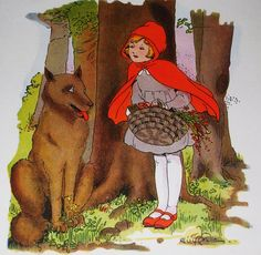 Little Red Riding Hood drawing, painting, carton like, and wolf smile like their communicating.